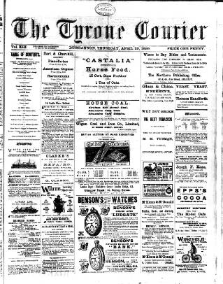 cover page of Tyrone Courier published on April 20, 1899