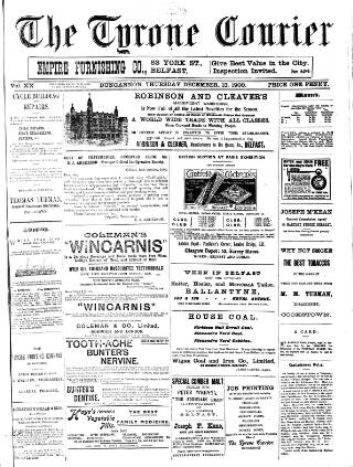 cover page of Tyrone Courier published on December 13, 1900