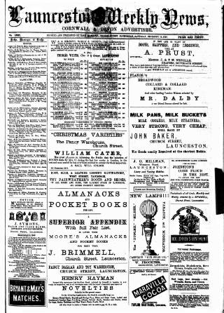 cover page of Launceston Weekly News, and Cornwall & Devon Advertiser. published on December 18, 1875