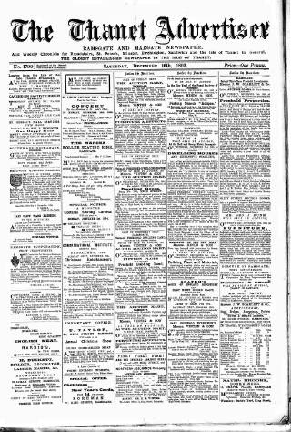 cover page of Thanet Advertiser published on December 16, 1893