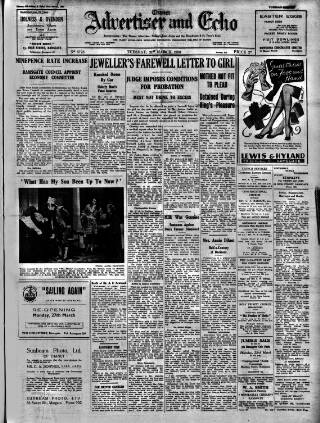 cover page of Thanet Advertiser published on March 21, 1950