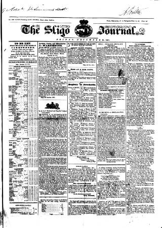 cover page of Sligo Journal published on December 16, 1831