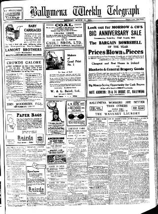 cover page of Ballymena Weekly Telegraph published on August 22, 1931