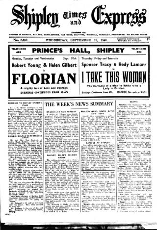 cover page of Shipley Times and Express published on September 25, 1940