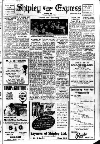 cover page of Shipley Times and Express published on May 21, 1958