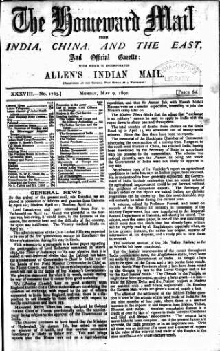 cover page of Homeward Mail from India, China and the East published on May 9, 1892