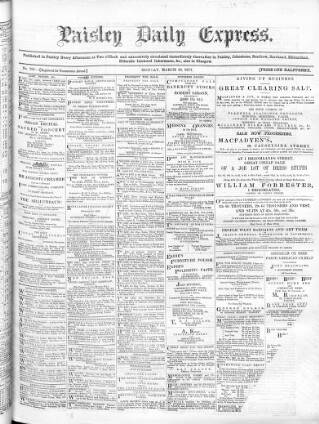 cover page of Paisley Daily Express published on March 19, 1877