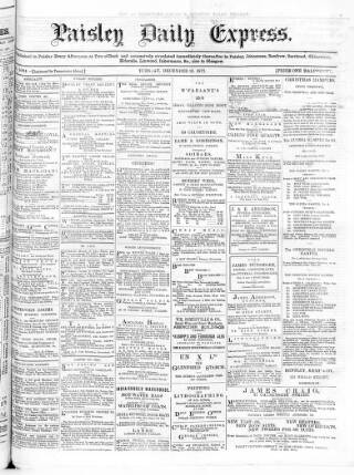 cover page of Paisley Daily Express published on December 18, 1877