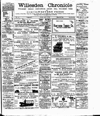 cover page of Willesden Chronicle published on May 27, 1910