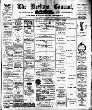 cover page of Hexham Courant published on January 19, 1889