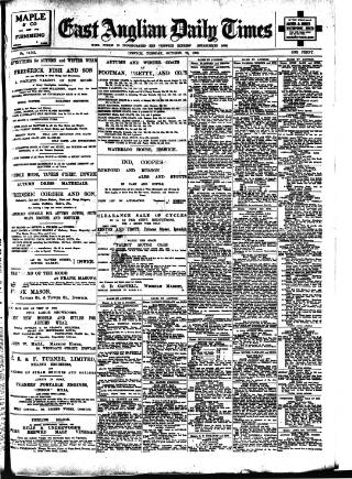 cover page of East Anglian Daily Times published on October 23, 1906