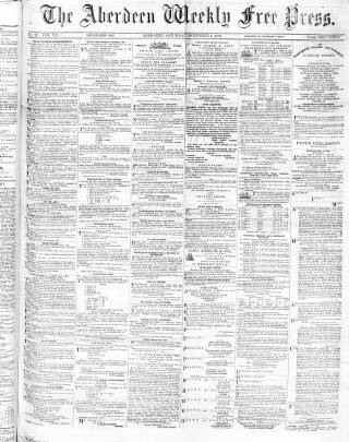 cover page of Aberdeen Weekly Free Press published on November 9, 1872
