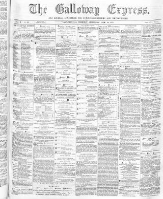 cover page of Galloway Express published on June 20, 1872