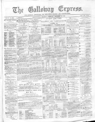 cover page of Galloway Express published on September 26, 1872
