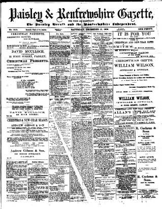 cover page of Paisley & Renfrewshire Gazette published on December 15, 1906