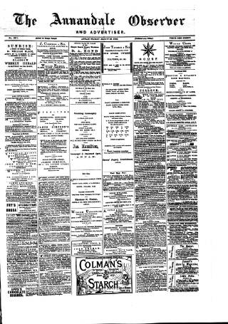 cover page of Annandale Observer and Advertiser published on March 26, 1880