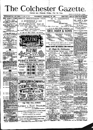cover page of Colchester Gazette published on February 20, 1889
