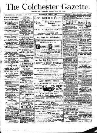 cover page of Colchester Gazette published on June 5, 1889