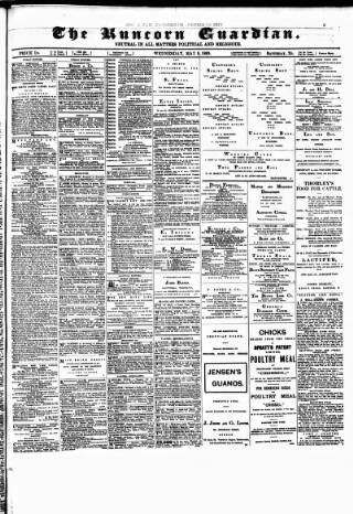 cover page of Runcorn Guardian published on May 9, 1888
