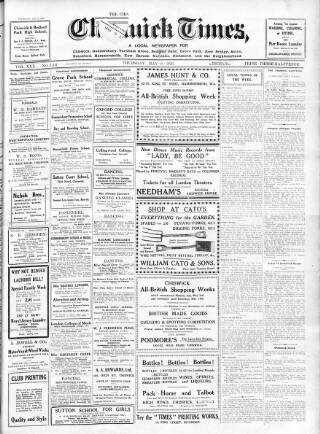 cover page of Chiswick Times published on May 6, 1926