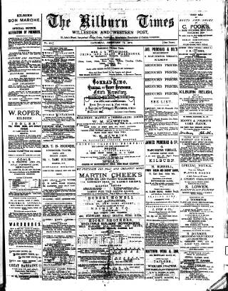 cover page of Kilburn Times published on February 19, 1876