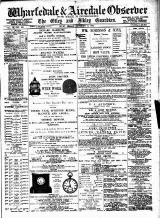 cover page of Wharfedale & Airedale Observer published on November 17, 1882