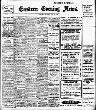 cover page of Eastern Evening News published on June 22, 1908