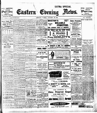 cover page of Eastern Evening News published on December 13, 1910