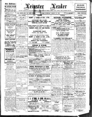 cover page of Leinster Leader published on March 19, 1938