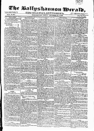 cover page of Ballyshannon Herald published on December 11, 1840