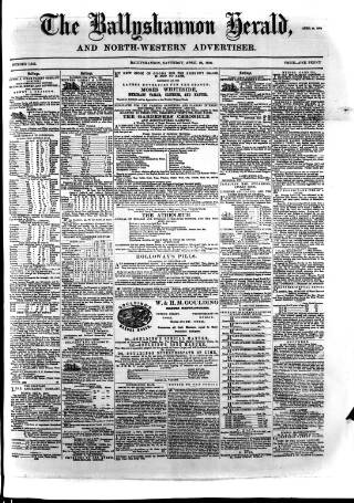 cover page of Ballyshannon Herald published on April 18, 1868