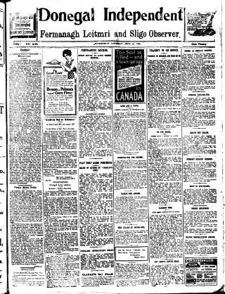 cover page of Donegal Independent published on June 27, 1914