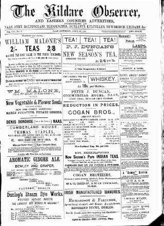 cover page of Kildare Observer and Eastern Counties Advertiser published on April 18, 1885