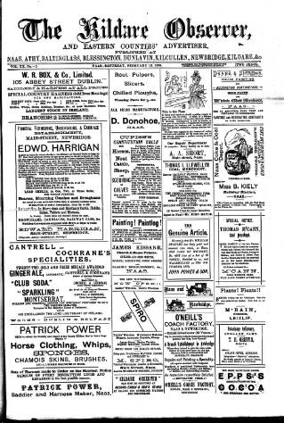 cover page of Kildare Observer and Eastern Counties Advertiser published on February 19, 1898