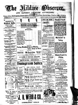cover page of Kildare Observer and Eastern Counties Advertiser published on October 17, 1914