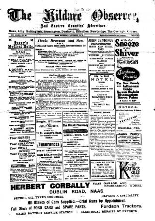 cover page of Kildare Observer and Eastern Counties Advertiser published on December 18, 1926