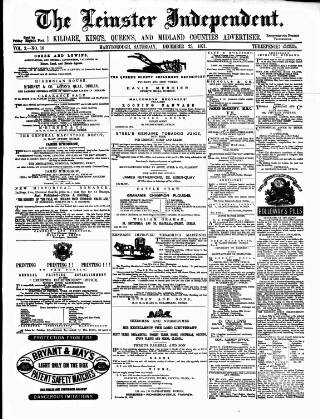 cover page of Leinster Independent published on December 23, 1871