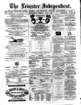 cover page of Leinster Independent published on June 8, 1872