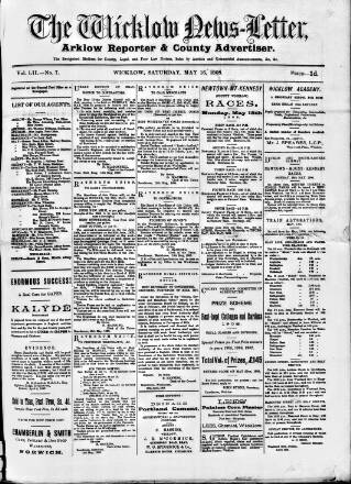 cover page of Wicklow News-Letter and County Advertiser published on May 16, 1908