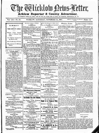 cover page of Wicklow News-Letter and County Advertiser published on November 24, 1917