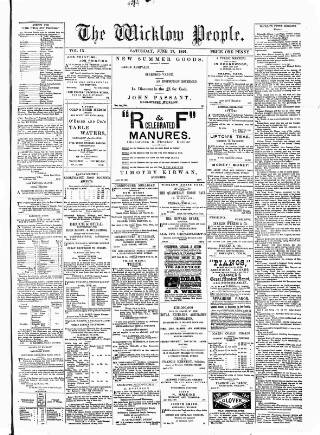 cover page of Wicklow People published on June 27, 1891