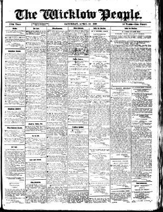 cover page of Wicklow People published on April 24, 1909