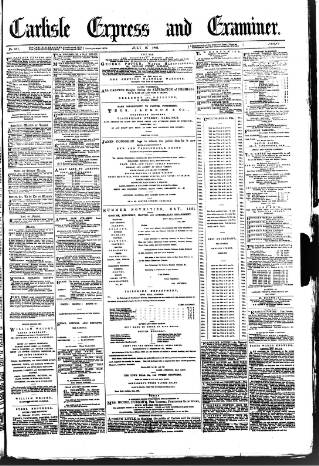 cover page of Carlisle Express and Examiner published on July 16, 1881