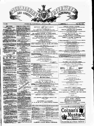cover page of Peeblesshire Advertiser published on June 4, 1881