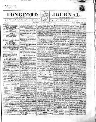cover page of Longford Journal published on April 18, 1857