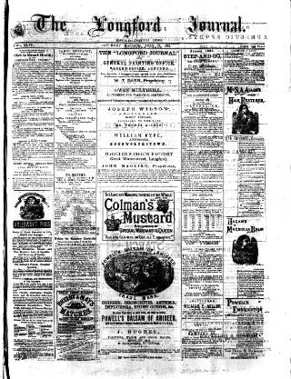 cover page of Longford Journal published on July 22, 1882
