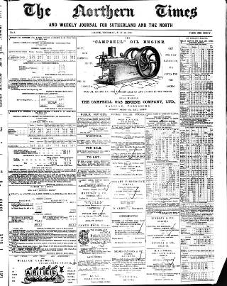 cover page of Northern times and weekly journal for Sutherland and the North published on July 20, 1899