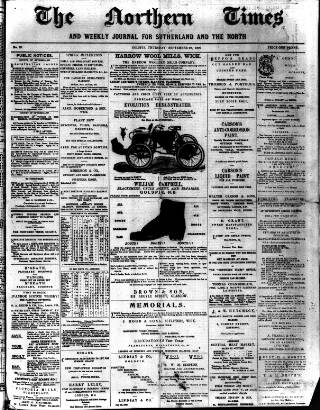 cover page of Northern times and weekly journal for Sutherland and the North published on September 20, 1900