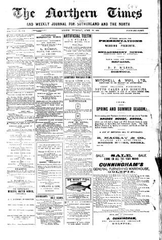 cover page of Northern times and weekly journal for Sutherland and the North published on April 22, 1909