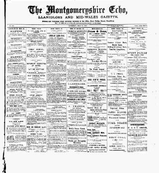 cover page of Montgomeryshire Echo published on July 20, 1895
